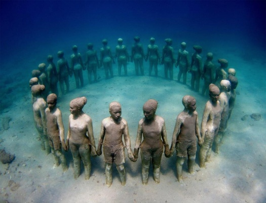 underwater circle of statues