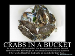crabs in a bucket poster