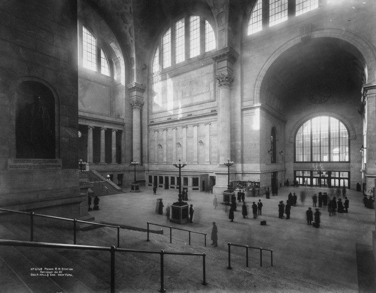 Penn Station (Pennsylvania Station), interior looking west from stairway on the east side of the main waiting room, New York, New York, 1911. (Photo by Geo. P. Hall & Son/The New York Historical Society/Getty Images)