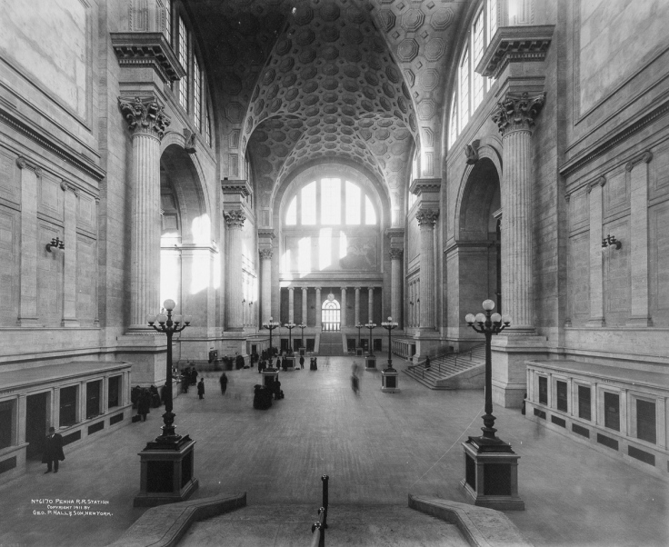 Penn Station (Pennsylvania Station), interior main waiting room looking north, New York, New York, 1911. (Photo by Geo. P. Hall & Son/The New York Historical Society/Getty Images)