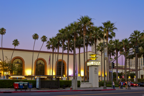 Los Angeles, USA - June 1, 2011: Union Station located in the downtown area of Los Angeles, serves rail and bus service of AMTRAK and Metro Lines of Soutnern California and the entire country.
