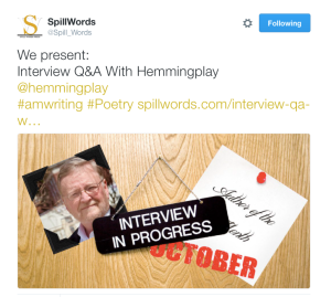 Interview Published  @Hemmingplay @Spill_Words